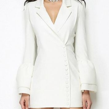 White Lapel Flared Sleeve Blazer Mini Dress