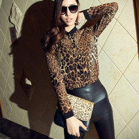 Women Sexy Leopard long-sleeved V-Neck chiffon shirt Casual Blouse Tops Women's Clothing Plus Size BW73