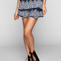 Patrons Of Peace Paisley Print Womens Pull-On Shorts Navy  In Sizes