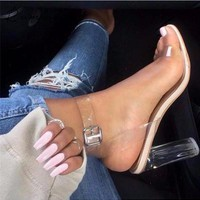 2017 PVC size 35-43 Jelly Sandals Open Toe High Heels Women Transparent Perspex Slippers Thick Heel Clear Sandalias