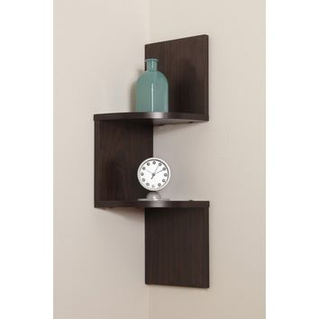 Laminated corner Shelf in Walnut Finish By Danya B