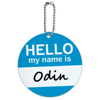 Odin Hello My Name Is Round ID Card Luggage Tag