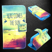 Sunrise Pattern Leather Phone Wallet Case