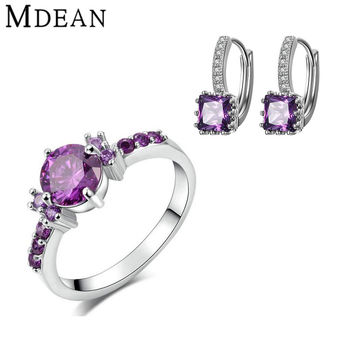 MDEAN White Gold Plated Jewelry Sets ring Purple Gem CZ diamond jewelry Engagement Vintage earrings+rings for women jewelry set