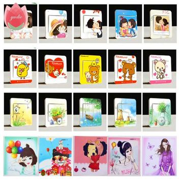 Girl Cute Kiss Bear Nature Switch Stickers Wall Stickers For Refrigerator Home Decoration Baby Room Bedroom Parlor Decoration