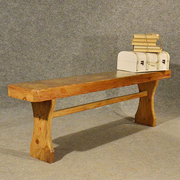 Antique 5' Pine Bench Pew Stool Long Seat Quality English Victorian c1900