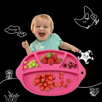 2017 New Arrival Tableware Silicone Placemat Food Plate Mat Baby Toddler Child Kids Cute Divided Dish Pads Bowl Plates