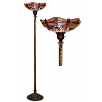 Tiffany Style Stained Glass Dragonfly Torchiere Floor Lamp TS19+BB75B