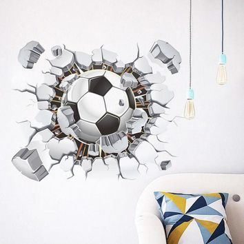 ICIKU7Q 3D Soccer Ball Football Wall Sticker Decal Kids Bedroom Home Room Decor Sport