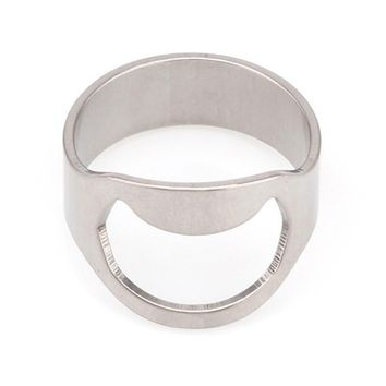 ABEDOE 1pc Silver Color Ring Bottle Opener Stainless Steel Finger Ring Bottle Opener Beer Bar Tool abridor de garrafa cerveja