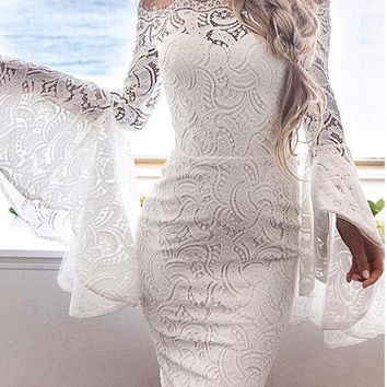 C| Chicloth Lace Off the Shoulder Flare Long Dress Summer Sleeves Bodycon Mini Dress
