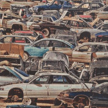 The Car Junkyard Stretched Wall Tapestry