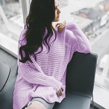 Slouchy Pure Color Roll Neck Sweater