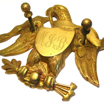 Cast Brass Eagle - Eagle Shield with Arrows - Eagle Plaque - Vintage Hardware