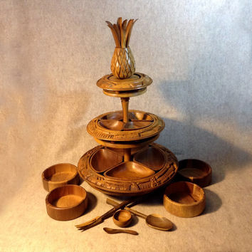 Vintage MidCentury 3 Tier Carved Wood Server - Hawaiian, South Pacific, Luau, Tiki, Party - Pineapple - Lazy Susan