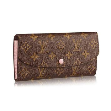 DCCK Louis Vuitton Monogram Canvas Monogram Canvas Emilie Wallet Article: M61289 Rose