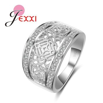 JEXXI Hollow Out Carving Wide Finger Rings For Women 925 Sterling Silver Wedding Engagement Jewelry Ring Female Anel Bijoux