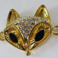 1PC - Fox Connector - Gold Toned with Rhinestones - 31x25mm