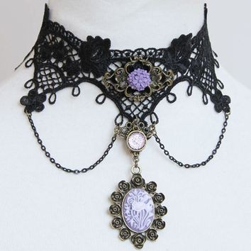 Atomic Black Lace And Purple Flower Cameo Choker Necklace