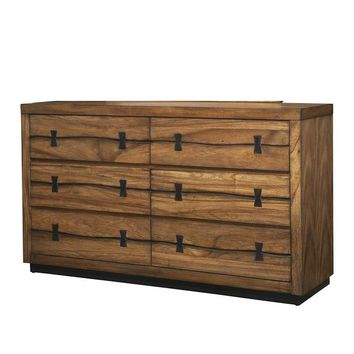 6 Drawer Mahogany Wood Dresser In Quaint Style Brown