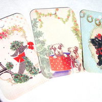 Dogs Of Christmas Gift Tags Set of 6 Vintage Inspired Scottie Dog Poodle
