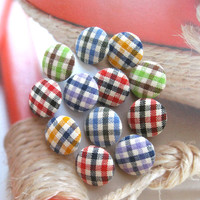 Fabric Buttons, Covered Buttons, Small Buttons, Red Buttons, Checks Buttons, Flat Backs, Blue Buttons CHOOSE SIZE 12's