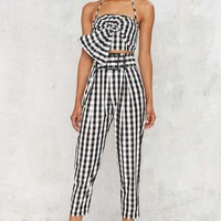 Kendall + Kylie Gingham Style Belted Trouser