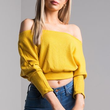 AKIRA Off Shoulder Long Sleeve Ribbed Knit Sweater in Yellow, Grey