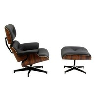 Eaze Lounge Chair in Black Leather and Palisander Wood
