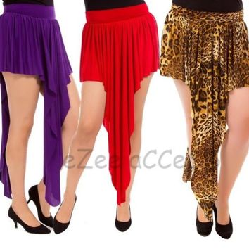 Sexy Women Plus Size Hi Low High Waisted Asymmetrical Skirt Animal print 1X 2X3X
