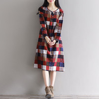 Women's Long Sleeve Round Neck Casual Cotton Check Plaid Loose Dress Plus Size Vintage Mori Girl