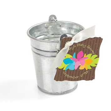 Luau - Personalized Tin Bucket and Tag Party Favor Kit - 20 ct