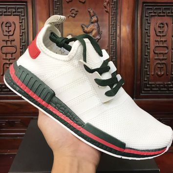Adidas NMD White (Green/Red Stripe) Sneakers Women Fashion Trending Running Sports Shoes