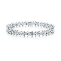 Tiffany & Co. | Item | Victoria alternating narrow bracelet in platinum with diamonds. | United States