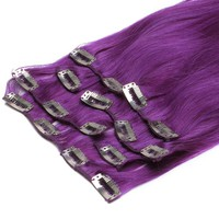 Hair Extensions Clip in Remy Brazilian Human Hair (22''80g, Purple)