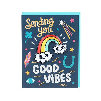 Good Vibes Rainbow Card + Patch Combo