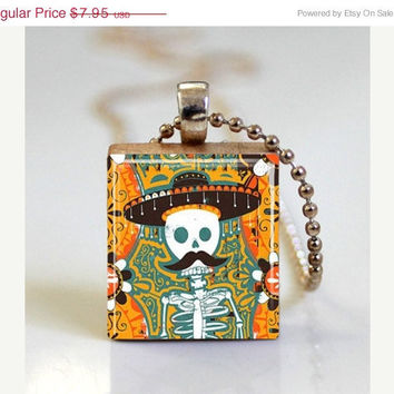 Sugar Skull with Mustache Mexican Day of the Dead Jewelry Scrabble Tile Pendant with Ball Chain Necklace Included (ITEM S792)