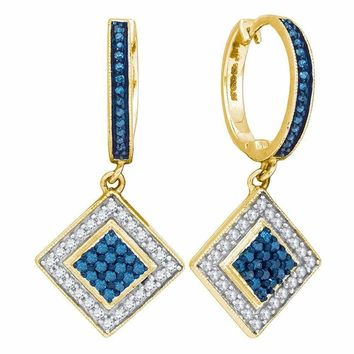 10kt Yellow Gold Women's Round Blue Color Enhanced Diamond Square Dangle Earrings 1-2 Cttw - FREE Shipping (USA/CAN)