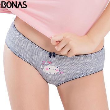 BONAS Pink Print Cat Panties Women Bow Accessories Low Rise Style Girls Seamless Sexy Underwear Cotton Women's Briefs Hot Sale