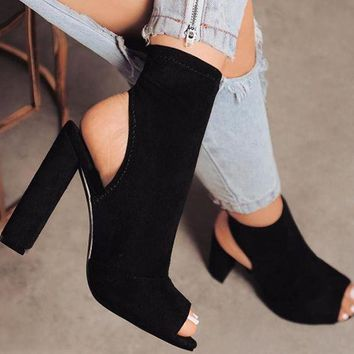 ONETOW Peep Toe Ankle Boots with block Heel 3 Colors