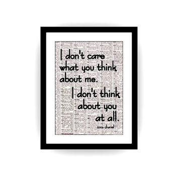 I Don't care, Coco Chanel inspirational quote, black and white, newspaper art, gift for girl, bathroom quotes, girls room decoration, deco