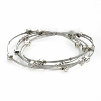 Silver Plate & Stainless Steel Crystal Wire Bangle Bracelet Set (White)