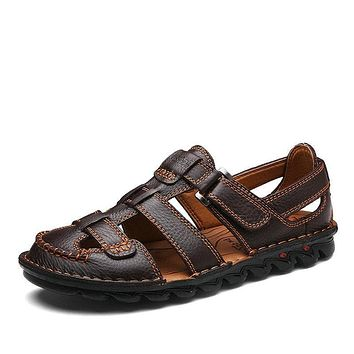 Buckle Strap Closed Toe Leather Sandals