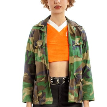 Vintage 90's Oh, That Counter-Culture Irony! Camo Utility Jacket - XS
