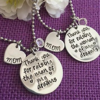 Bridal Jewelry - Mother of the bride - Mother of the groom - Wedding Jewelry - Gift for mother in law - Thank you for raisin the man