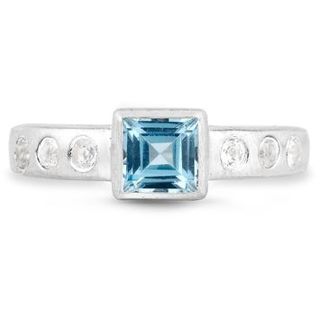LoveHuang 1.01 Carats Genuine Swiss Blue Topaz and White Topaz Matte Finish Ring Solid .925 Sterling Silver With Rhodium Plating