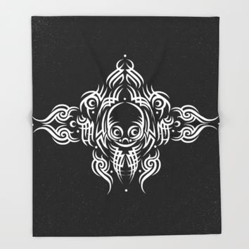 Alien Tribal Tattoo - white Throw Blanket by Chobopop