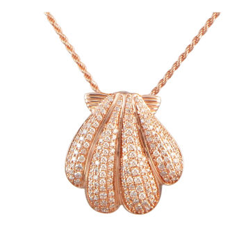 ROSE GOLD PLATED 925 STERLING SILVER HAWAIIAN SUNRISE SHELL PENDANT CZ 21.50MM