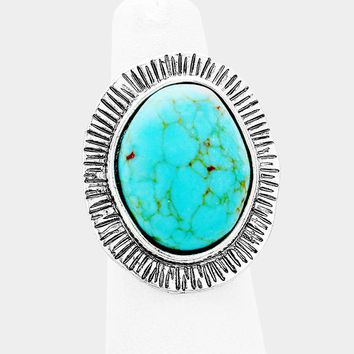 Oval Turquoise & Metal Sun Accent Fashion Cuff Ring