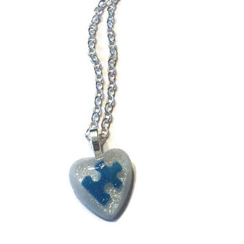 Autism Awareness Heart Puzzle Piece Resin Pendant Necklace, Autism Jewelry, Blue and White